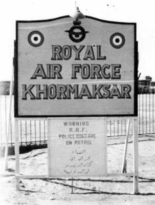 RAF Khormaksar sign